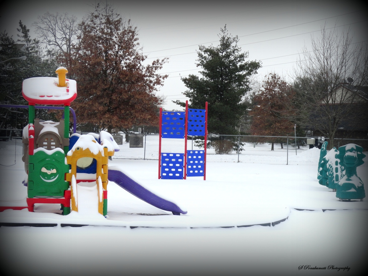 bright colorful park with white floor
